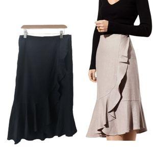 Aritzia Babaton Jenning Ruffle Faux Wrap Skirt